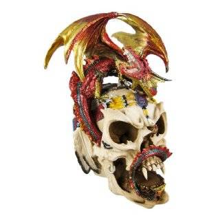 Red & Gold Evil Dragon On Vampire Skull Money Bank