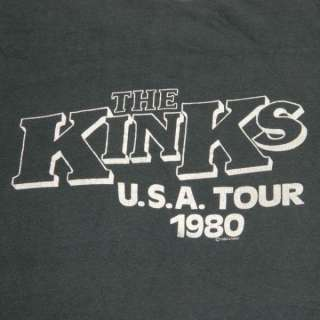 1980 THE KINKS USA VTG TOUR T SHIRT CONCERT FADED SOFT