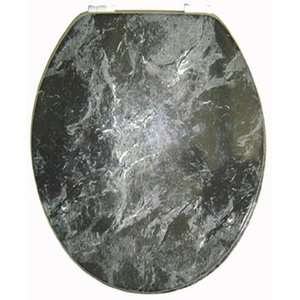 Trimmer Elongate Marbleized Molded Wood Toilet Seat in