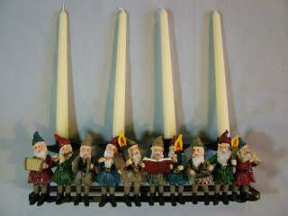 Beautiful 12 Elves Caroling Christmas Candle Holder (Holds 4 Tapers