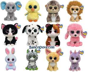 TY BEANIE BOOS big eyes baby animals 6 kids plush toys