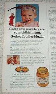 1970 ad Gerber Toddler Food CUTE baby Indian feather AD