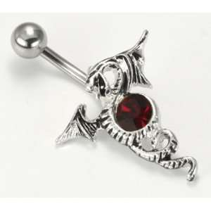 14G 7/16 Flying Dragon with Red Gem Belly Button: Jewelry