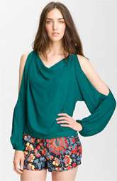 Haute Hippie Cutout Sleeve Silk Blouse $265.00
