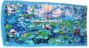 Art Silk Oblong Scarf Wrap w/ Monet Water Lilies 1906