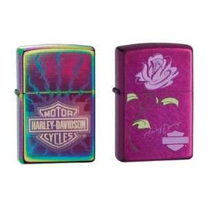 Zippo Lighter Set   Harley Davidson Flaming Barbed Wire Spectrum and