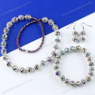 Rainbow Crystal Glass Beads Necklace Bracelet Earrings Gift Jewelry