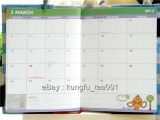 Schedule Monthly Weekly Planner Organizer Diary w Cotton Cover
