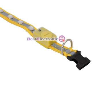 LED Light Safety Collar Yellow Nylon for Dog Cat Pet 3 Size