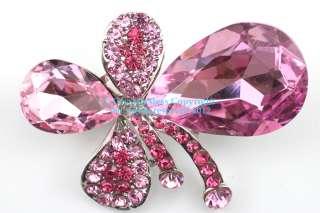 Pink Austrian Rhinestone Crystal Fancy Clover Brooch Pin