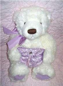 Jointed Gund White Plush Stuffed Teddy Bear Holding Purple Purse