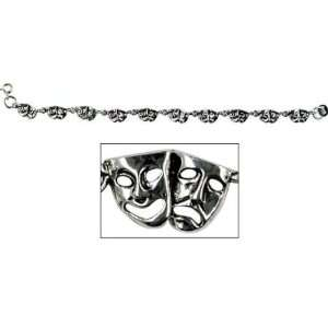 Actors Bracelet Sterling Silver   Comedy & Tragedy Masks Jewelry