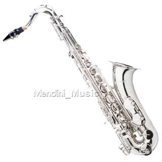 NEW STUDENT NICKEL PLATED TENOR SAXOPHONE SAX+$39 TUNER