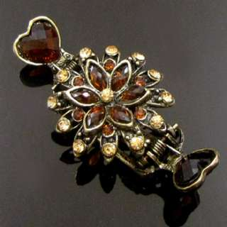 Item  1pc rhinestone antiqued flower crab hair claw clip