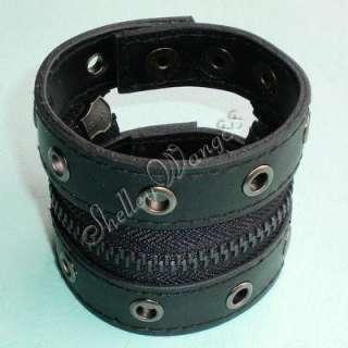 Black Leather Buckle Cuff Stud Belt Bracelet Wristband