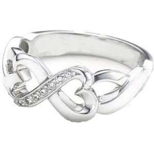 Tiffany Inspired Sterling Silver Double Loving Heart Ring w/CZ Size 9