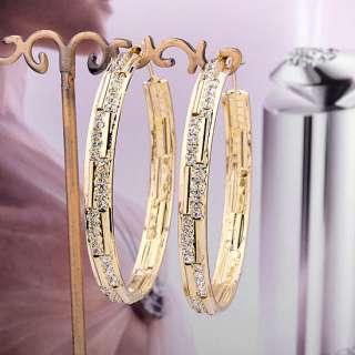 12K GP Gold tone Earrings,Pave Swarovski Crystal Big Hoop