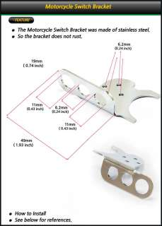 SWITCH BRACKET MOTORCYCLE STAINLESS STEEL   MOTORCYCLE ONLY   DOES NOT