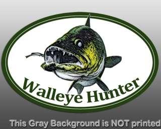 Oval Walleye Hunter Sticker   decal fish fishing yellow