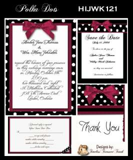 Delux Polka Dot Theme Wedding Invitation Kit on CD
