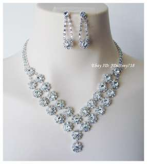 Wedding Bridal Crystal Necklace Earrings Set Prom B10048