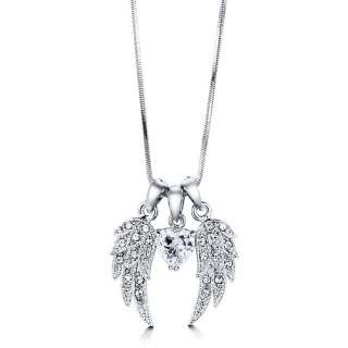 SILVER TONE ANGEL WINGS CZ STONE PENDANT NECKLACE