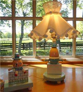 Vtg~IRMI~Nursery~Original~Wooden Humpty Dumpty~Kid~Baby~Lamp+Shade